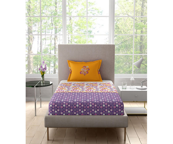 Stellar Home Iris Collection - Sweet Lavendar & Orange Floral Print Bedsheet With 1 Pillow Cover (100% Cotton, Single Size)