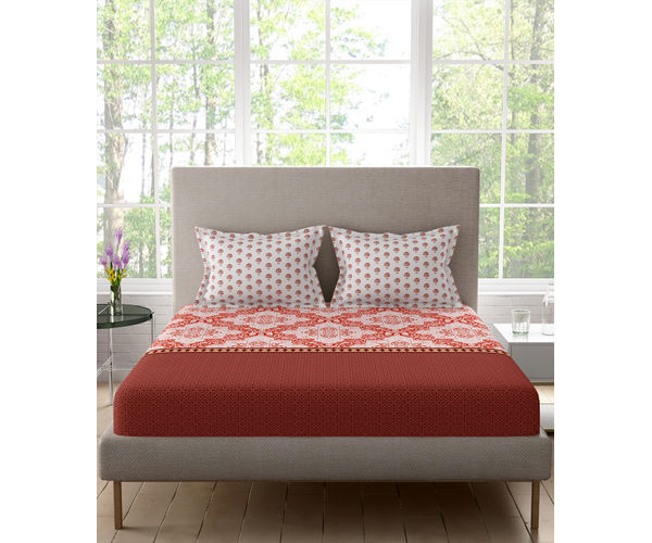 Stellar Home Iris Collection - Sea Of Red Ethnic Floral Print Bedsheet With 2 Pillow Covers (100% Cotton, Queen Size)