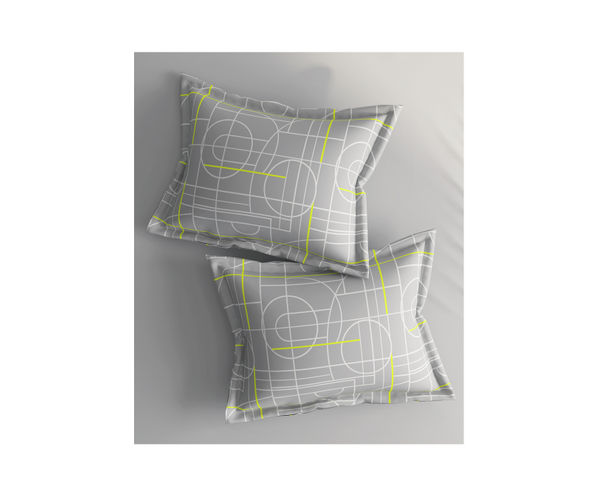 Stellar Home Iris Collection - Grey Abstract Print Pillow Cover Set (100% Cotton)
