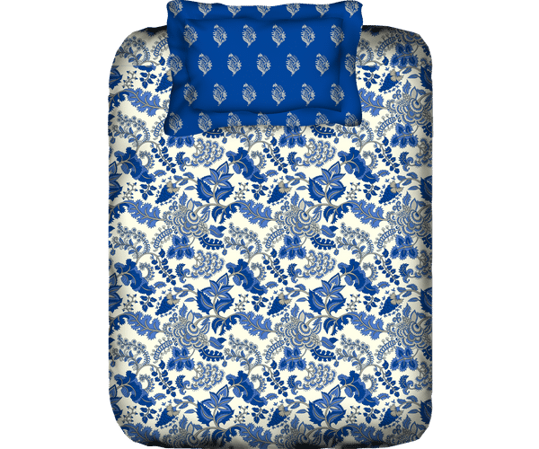 Stellar Home Lilly Collection - Dark Blue Floral Print Bedsheet With 1 Pillow Cover (100% Cotton, Single Size)