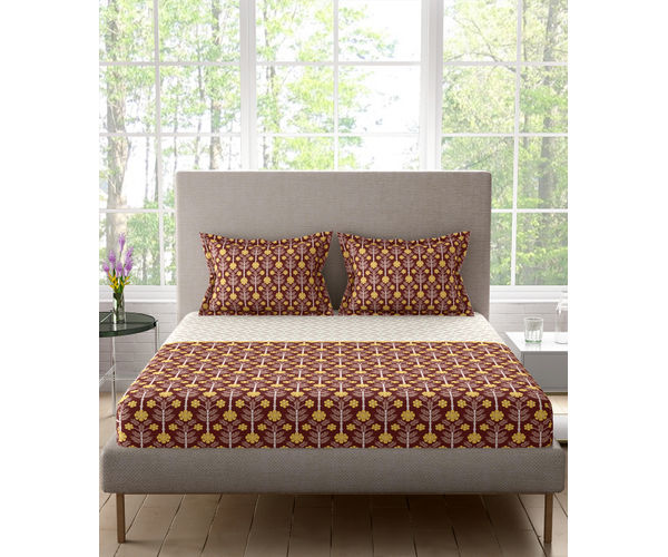 Stellar Home Lilly Plus Collection - Earthy Brown, Yellow & White Ethnic Print Bedsheet With 2 Pillow Covers (100% Cotton, Super King Size)