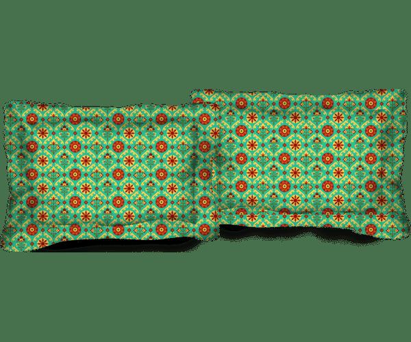 Stellar Home Iris Collection - Green Ethnic Print Pillow Cover Set (100% Cotton)