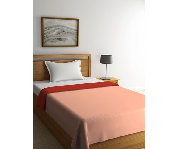 Stellar Home Blockbuster Collection - Red Clay & Tropical Peach Reversible Single Size Comforter (Super Soft Micro)