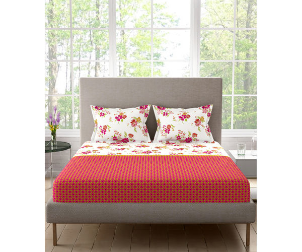 Stellar Home Lilly Plus Collection - Vibrant Red & White Floral Print Bedsheet With 2 Pillow Covers (100% Cotton, Super King Size)