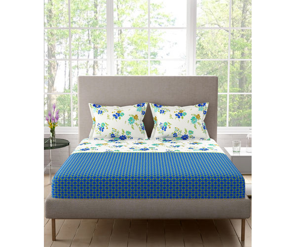 Stellar Home Lilly Plus Collection - Vibrant Blue & White Floral Print Bedsheet With 2 Pillow Covers (100% Cotton, Super King Size)
