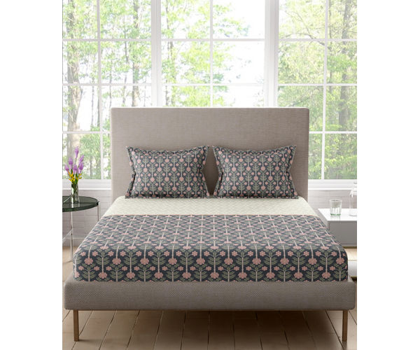 Stellar Home Lilly Plus Collection - Grey, Pink & White Ethnic Print Bedsheet With 2 Pillow Covers (100% Cotton, Super King Size)