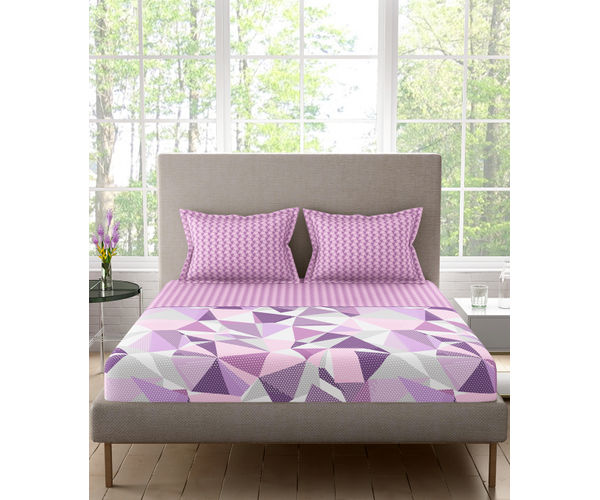 Stellar Home Lilly Plus Collection - Lilac & Purple Abstract Print Bedsheet With 2 Pillow Covers (100% Cotton, Super King Size)