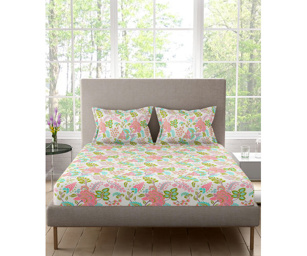 Stellar Home Lilly Plus Collection - Pink, Green & White Delicate Floral Print Bedsheet With 2 Pillow Covers (100% Cotton, Super King Size)
