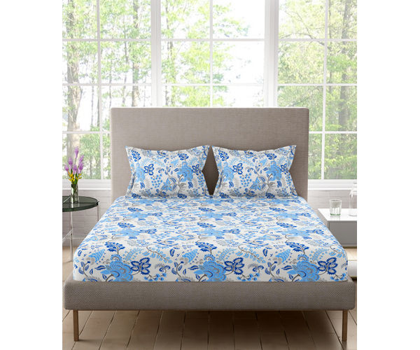 Stellar Home Lilly Plus Collection - Blue & White Delicate Floral Print Bedsheet With 2 Pillow Covers (100% Cotton, Super King Size)