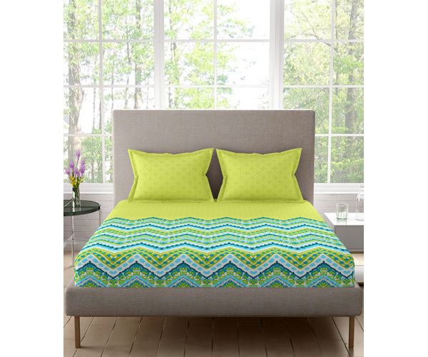 Stellar Home Lilly Plus Collection - Lime Green & Blue Zig-Zag Pattern Bedsheet With 2 Pillow Covers (100% Cotton, Super King Size)