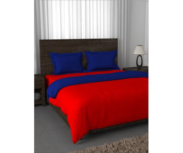 Stellar Home Enya Collection - Solid Fiery Red & Snorkel Blue Reversible Queen Size Comforter