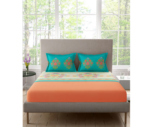 Stellar Home Lilly Collection - Vibrant Ethnic Print Bedsheet With 2 Pillow Covers (100% Cotton, Queen Size)