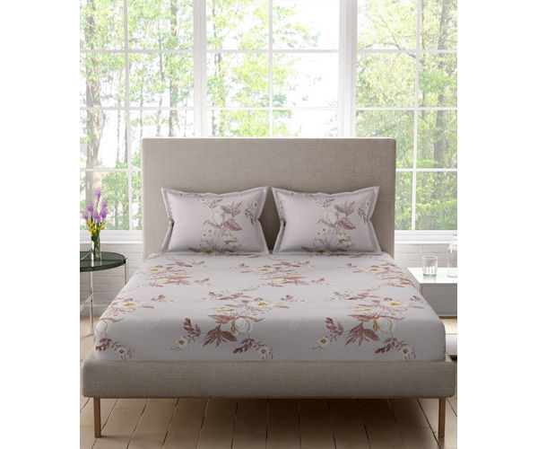 Stellar Home Bloomsbury Collection -Subtle Floral Print Double Size Bedsheet With 2 Pillow Covers (Polyester Brushed Fabric)