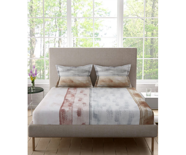 Stellar Home Bloomsbury Collection -Grey & Beige Paint Brush Effect Double Size Bedsheet With 2 Pillow Covers (Polyester Brushed Fabric)