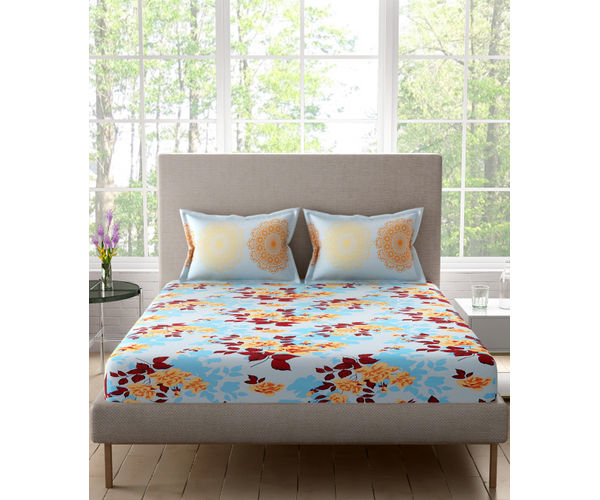 Stellar Home Felicity Collection - Blue Floral Print Double Size Bedsheet With 2 Pillow Covers