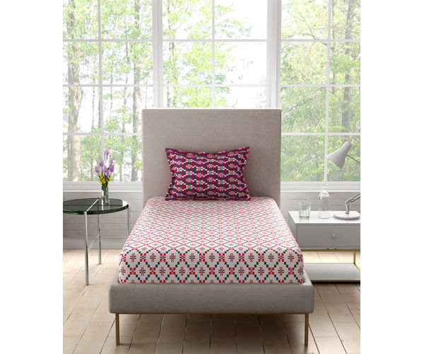 Stellar Home Lilly Collection - Detailed Tile Print Geometric Bedsheet With 1 Pillow Cover (100% Cotton, Single Size)