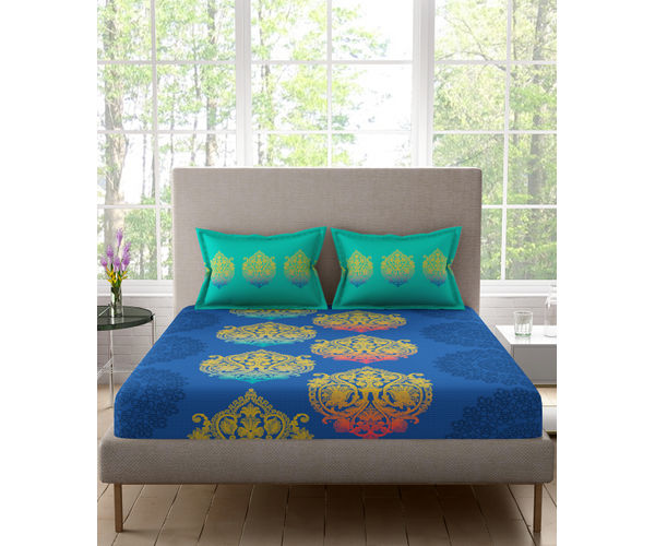 Stellar Home Lilly Collection - Blue Big Motif Print Double Size Bedsheet With 2 Pillow Covers (100% Cotton, Queen Size)