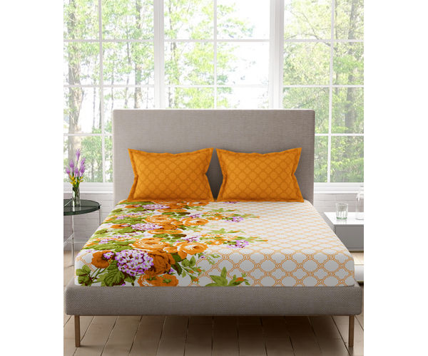 Stellar Home Estella Collection - Floral Geometric Autumn Hued Print Bedsheet With 2 Pillow Covers (100% Cotton, King Size)