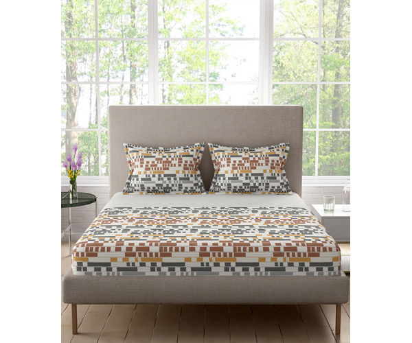 Stellar Home Lilly Plus Collection - Abstract Geometric Print Lined Bedsheet With 2 Pillow Covers (100% Cotton, Super King Size)