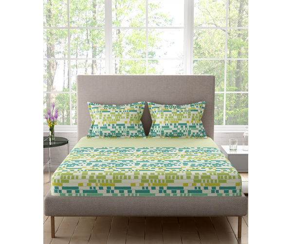 Stellar Home Lilly Plus Collection - Minty Green Abstract Geometric Print Lined Bedsheet With 2 Pillow Covers (100% Cotton, Super King Size)