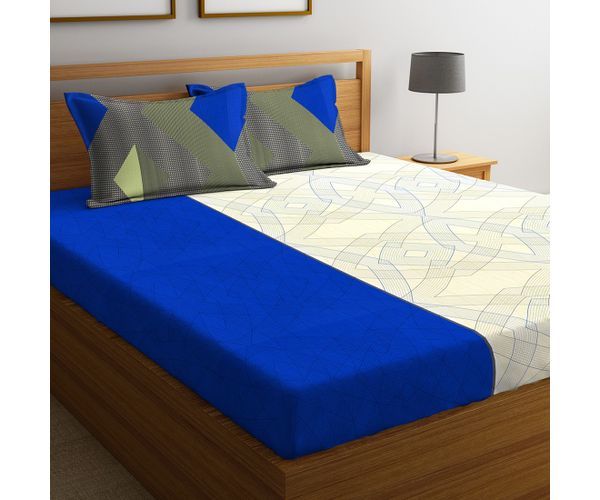 Stellar Home Lilly Collection - Blue, Grey & White Abstract Print Bedsheet With 2 Pillow Covers (100% Cotton, Queen Size)