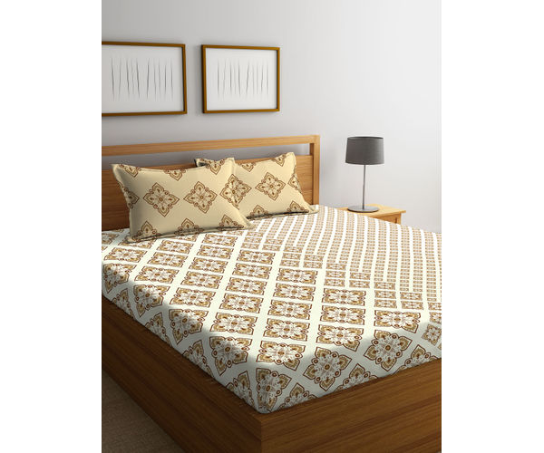Stellar Home Lilly Collection - Ethnic Pastel Beige Print Bedsheet With 2 Pillow Covers (100% Cotton, Queen Size)