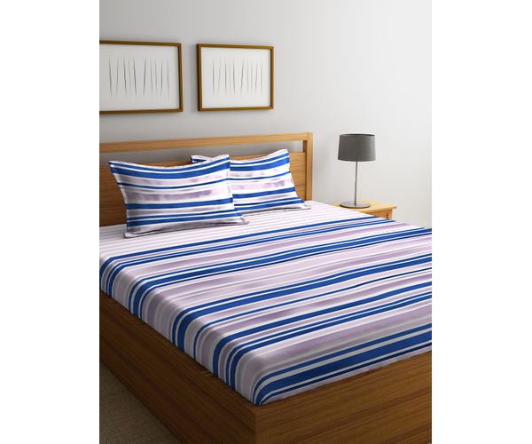Stellar Home Lilly Plus Collection - Blue & Lavender Abstract Striped Print Bedsheet With 2 Pillow Covers (100% Cotton, Super King Size)