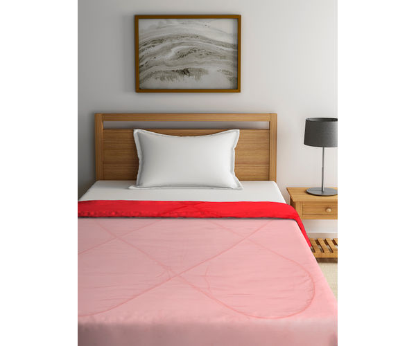 Stellar Home Enya Collection - Coral Red Printed Reversible Single Size Comforter (Polyester)