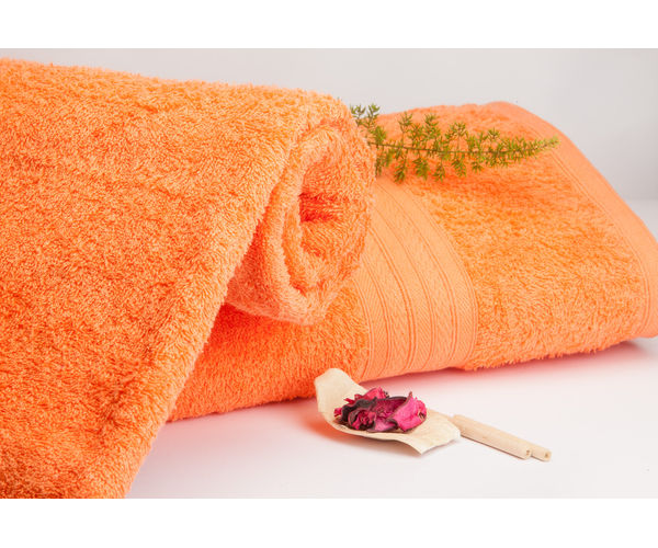 Stellar Home Premium Jacquard Collection - Small Bright Orange 1 Piece Bath Towel, GSM - 380 (100% Cotton, 70 x 140 cms)