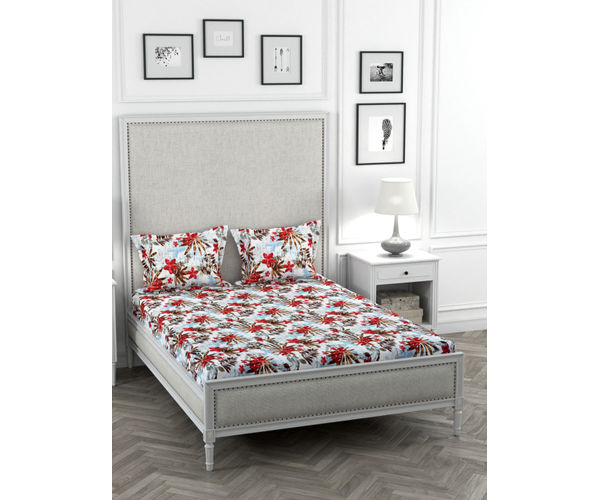 Stellar Home May Flower Collection - Red Flower Print Bedsheet With 2 Pillow Covers (Polyester Brushed Fabric, Queen Size)