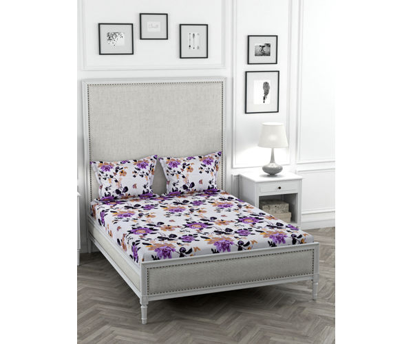 Stellar Home May Flower Collection - Lavender Floral Print Bedsheet With 2 Pillow Covers (Polyester Brushed Fabric, Queen Size)