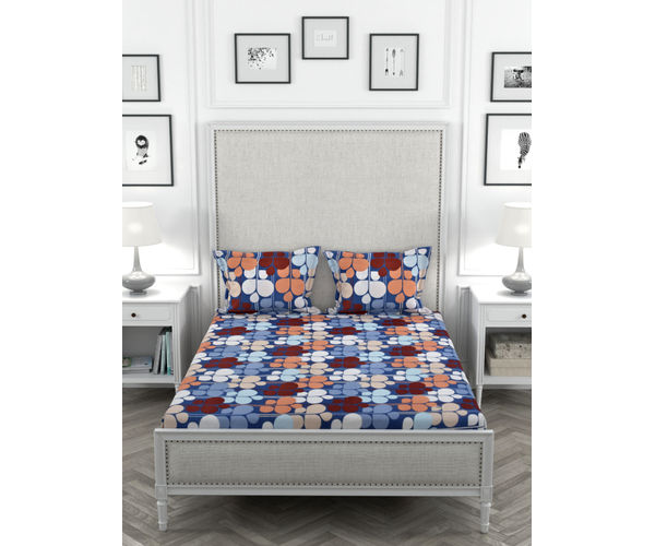 Stellar Home Oliver Collection - Multi-Coloured Abstract Floral Print Bedsheet With 2 Pillow Covers (Super Soft Micro, Queen Size)