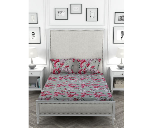 Stellar Home Oliver Collection - Graphic Pink & Grey Floral Print Bedsheet With 2 Pillow Covers (Super Soft Micro, Queen Size)