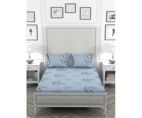 Stellar Home Oliver Collection - Light Blue & Black Floral Print Bedsheet With 2 Pillow Covers (Super Soft Micro, Queen Size)