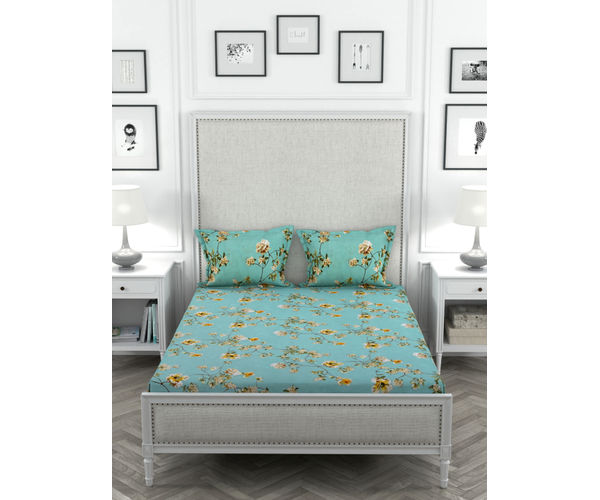 Stellar Home Oliver Collection - Yellow & Blue Summer Floral Print Bedsheet With 2 Pillow Covers (Super Soft Micro, Queen Size)