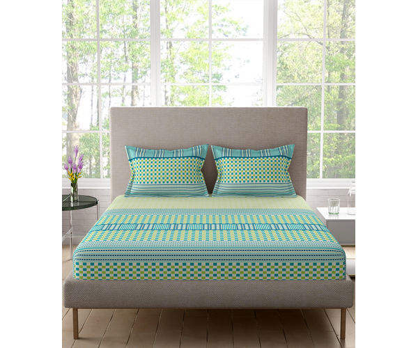 Stellar Home Lilly Plus Collection - Light Green Geometric Tiled & Striped Print Bedsheet With 2 Pillow Covers (100% Cotton, Super King Size)