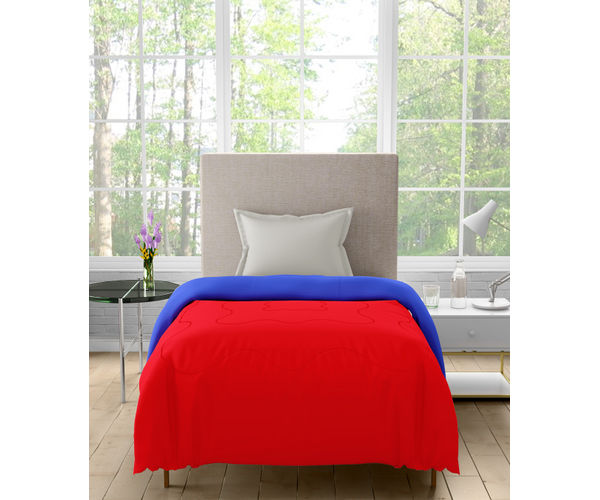 Stellar Home Enya Collection - Ruby Red & Snorkel Blue Printed Reversible Single Size Comforter (Polyester)