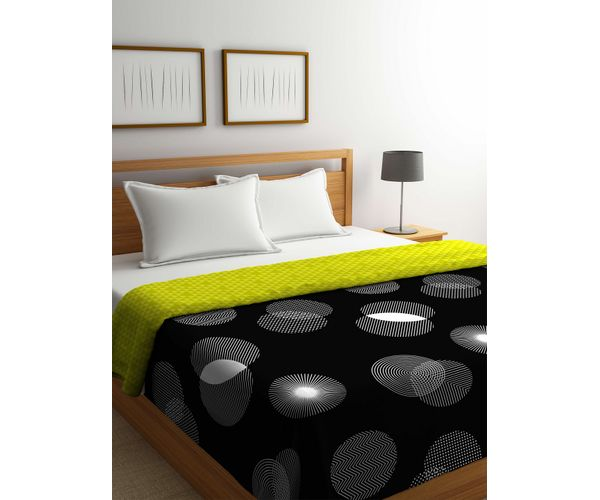 Stellar Home Estella Collection - Circular Geometric Spiral Print Queen Size Comforter (100% Cotton)