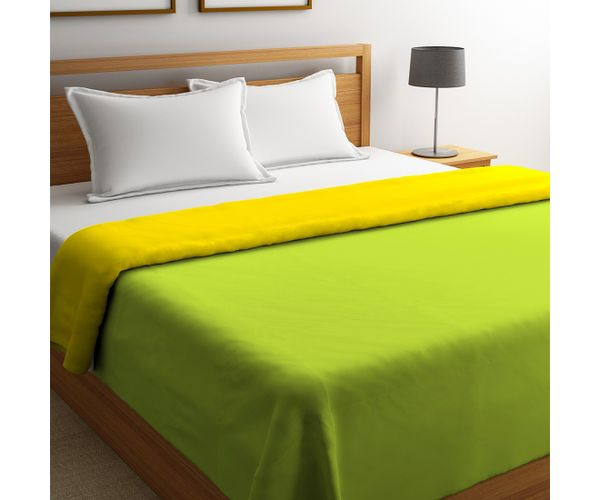 Stellar Home Blockbuster Collection - Green Glow & Lemon Yellow Reversible Queen Size Comforter (Super Soft Micro)