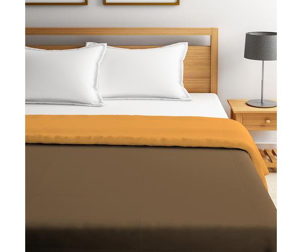 Stellar Home Blockbuster Collection - Ochre & Sepia Reversible Queen Size Comforter (Super Soft Micro)