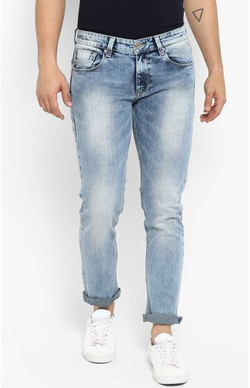 Light Blue Solid Slim Thigh Narrow Leg Fit Jeans