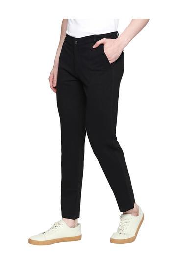 Spykar Black Cotton Mid Rise Slim Fit Tapered Leg Ankle Length Knit Track Pants (Kano)
