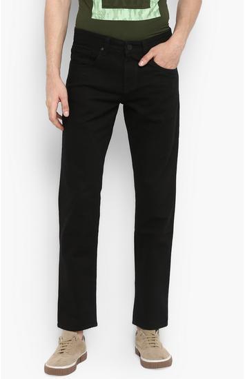 Black Solid Regular Fit Jeans