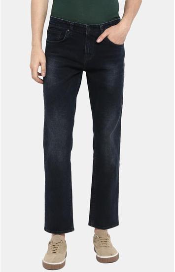 Dark Blue Solid Regular Fit Jeans