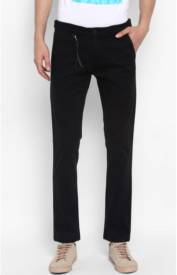 Black Solid Slim Fit Chinos