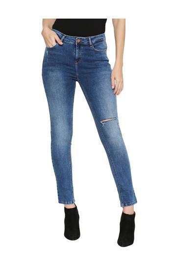 Spykar Blue Cotton Low Rise Skinny Fit Jeans (Slim)