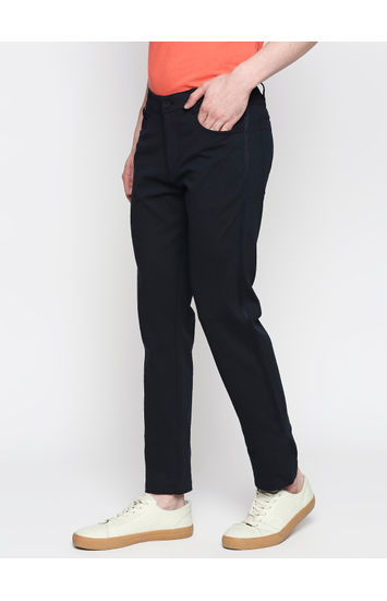 Spykar Blue Cotton Slim Fit Trousers (Slim)