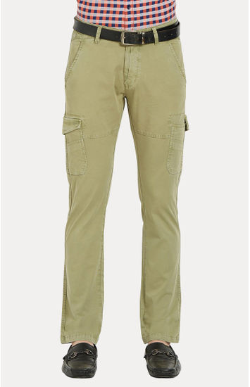 Olive Solid Slim Fit Cargos