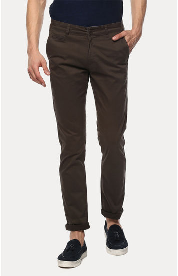 Dark Olive Solid Slim Fit Chinos