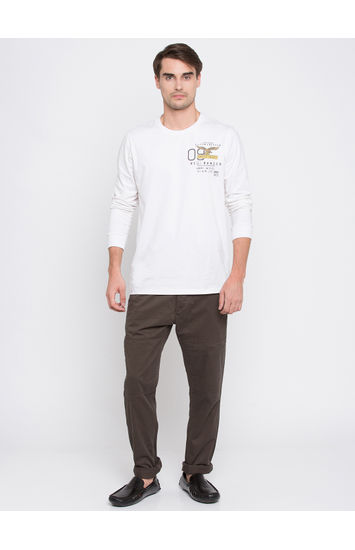 Grey Solid Slim Fit Chinos